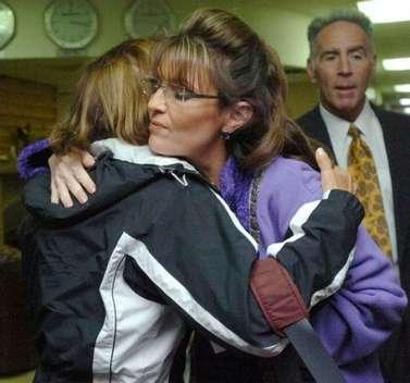 Sarah hugs me