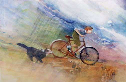Kid,-bike,-dog